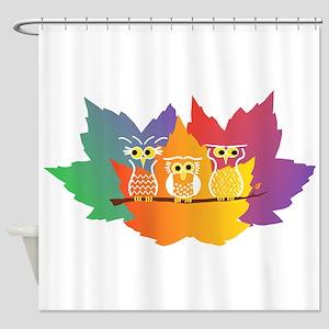 Three Little Autumn Owls Shower Curtain
