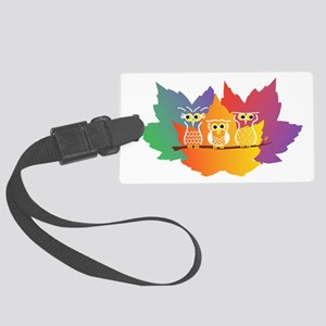 Three Little Autumn Owls Large Luggage Tag