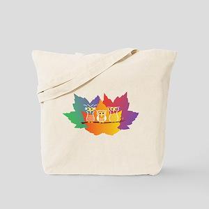 Three Little Autumn Owls Tote Bag