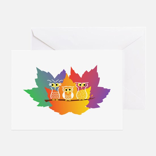 Three Little Autumn Owls Greeting Card
