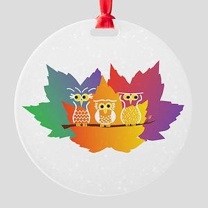 Three Little Autumn Owls Round Ornament