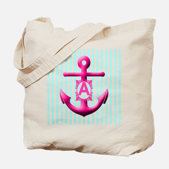 Letter A Anchor And Stripes Monogram Tote Bag