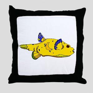 Yellow Puffer Fish Throw Pillow