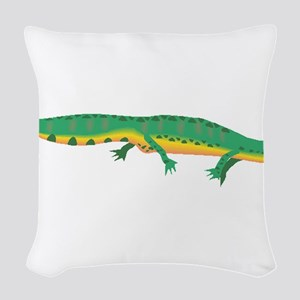 Green Newt Woven Throw Pillow