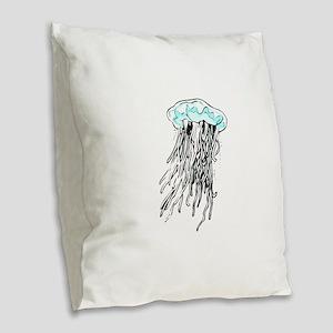 Blue Jellyfish Burlap Throw Pillow