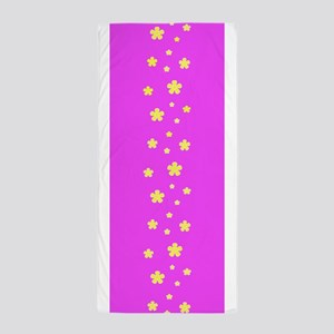 Pink Retro Floral Garland Beach Towel
