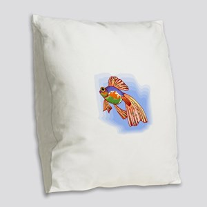 Colorful Betta Fish Burlap Throw Pillow