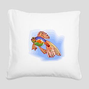 Colorful Betta Fish Square Canvas Pillow