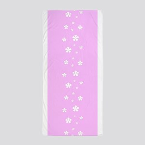 Pink Retro Floral Garden Via 23 Beach Towel