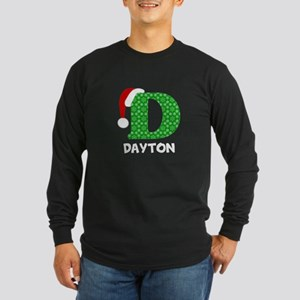 Christmas Letter D Monogr Long Sleeve Dark T-Shirt