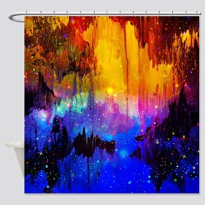 Castles in the Mist Abstract Shower Curtain