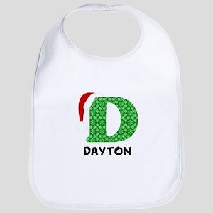 Christmas Letter D Monogram Cotton Baby Bib