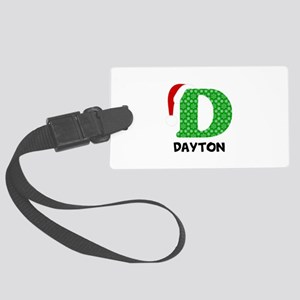 Christmas Letter D Monogram Large Luggage Tag