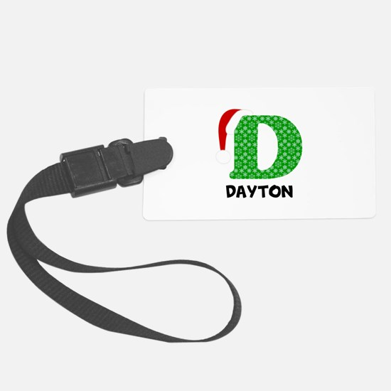 Christmas Letter D Monogram Luggage Tag