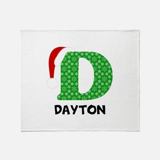 Christmas Letter D Monogram Throw Blanket