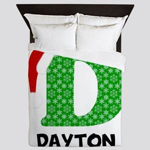 Christmas Letter D Monogram Queen Duvet