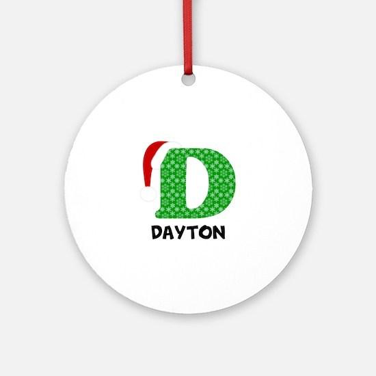 Christmas Letter D Monogram Round Ornament