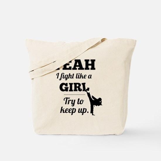 Fight Like a Girl - black Tote Bag