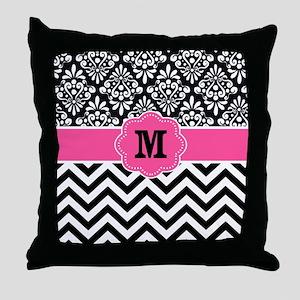 Pink Black Damask Chevron Monogram Throw Pillow