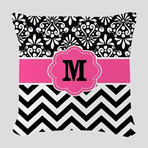 Pink Black Damask Chevron Monogram Woven Throw Pil