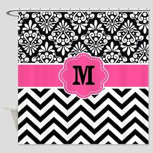 Pink Black Damask Chevron Monogram Shower Curtain