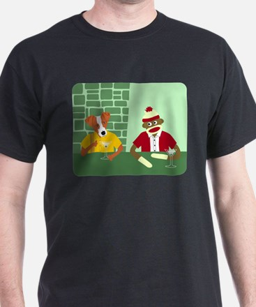 Jack Russell Terrier & Sock Monkey T-Shirt
