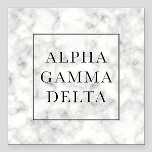 """Alpha Gamma Delta Marble Square Car Magnet 3"""" x 3"""""""