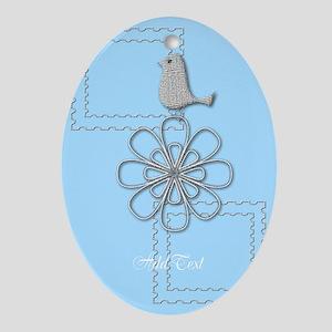Holiday Season Blue Oval Ornament