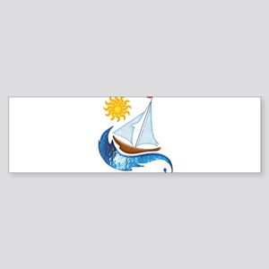 Sailboat Ocean and Sun Bumper Sticker