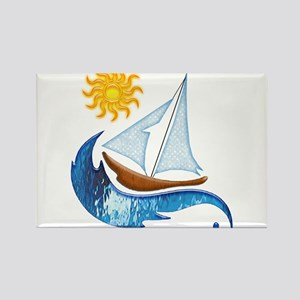 Sailboat Ocean and Sun Magnets