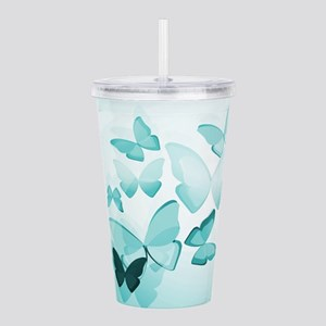 Turquoise Butterflies Acrylic Double-wall Tumbler