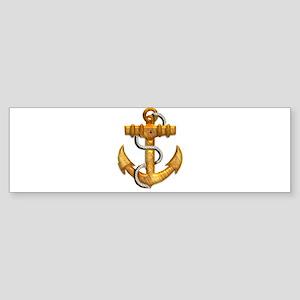 Brushed Gold Metallic Boat Anchor Bumper Sticker