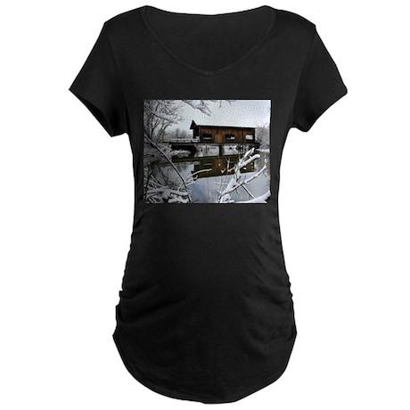 Snow Covered Bridge Maternity T-Shirt