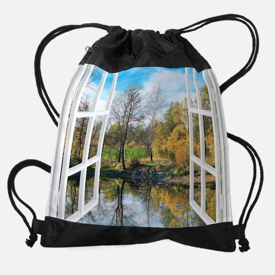 Lake View Drawstring Bag