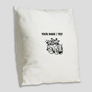 Custom Garbage Truck Burlap Throw Pillow