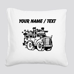 Custom Garbage Truck Square Canvas Pillow