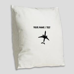 Custom Airplane Burlap Throw Pillow