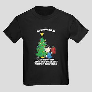 Peanuts Biggest Present Under Th Kids Dark T-Shirt
