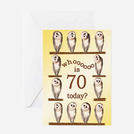 70th birthday with curious owls. Greeting Cards