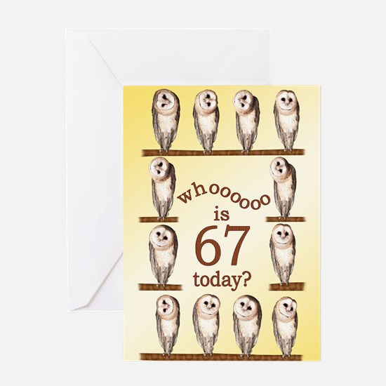 67th birthday with curious owls. Greeting Cards
