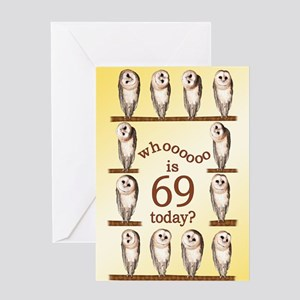 69th Birthday With Curious Owls Greeting Cards