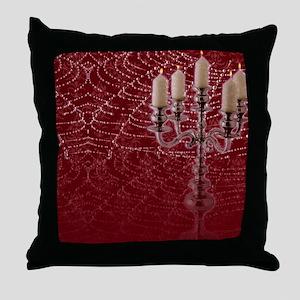 Red Damask Web Candelabra   Throw Pillow
