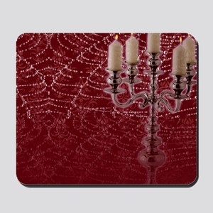 Red Damask Web Candelabra   Mousepad
