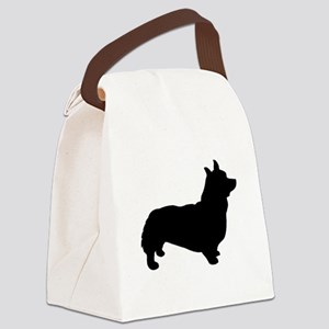 corgi black 3 Canvas Lunch Bag
