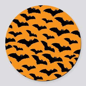 Halloween Bat Pattern Round Car Magnet
