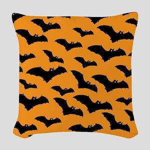 Halloween Bat Pattern Woven Throw Pillow