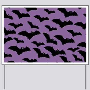 Spooky Halloween Bat Pattern Yard Sign