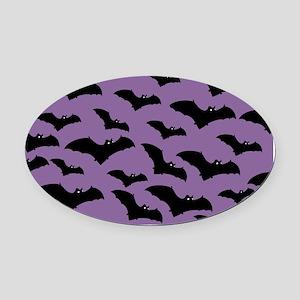 Spooky Halloween Bat Pattern Oval Car Magnet