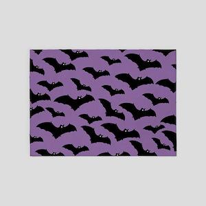 Spooky Halloween Bat Pattern 5'x7'Area Rug