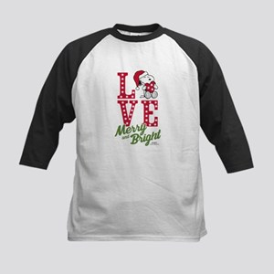 Snoopy Love Merry And Bright Kids Baseball Tee